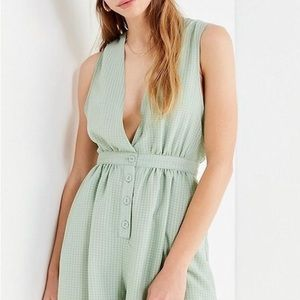 Green Button Up Urban Outfitters Romper